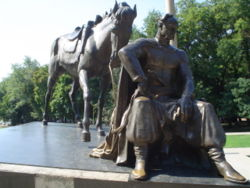 A Cossack and horse statue in Odessa